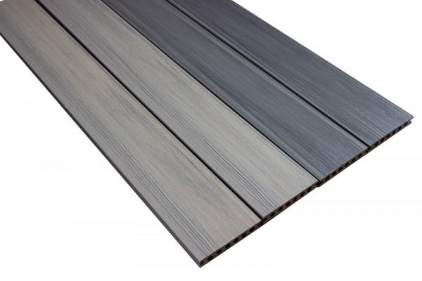 BPC/WPC Terrassendiele | Coextrudiert Grau/Silber | Hohlkammerprofil
